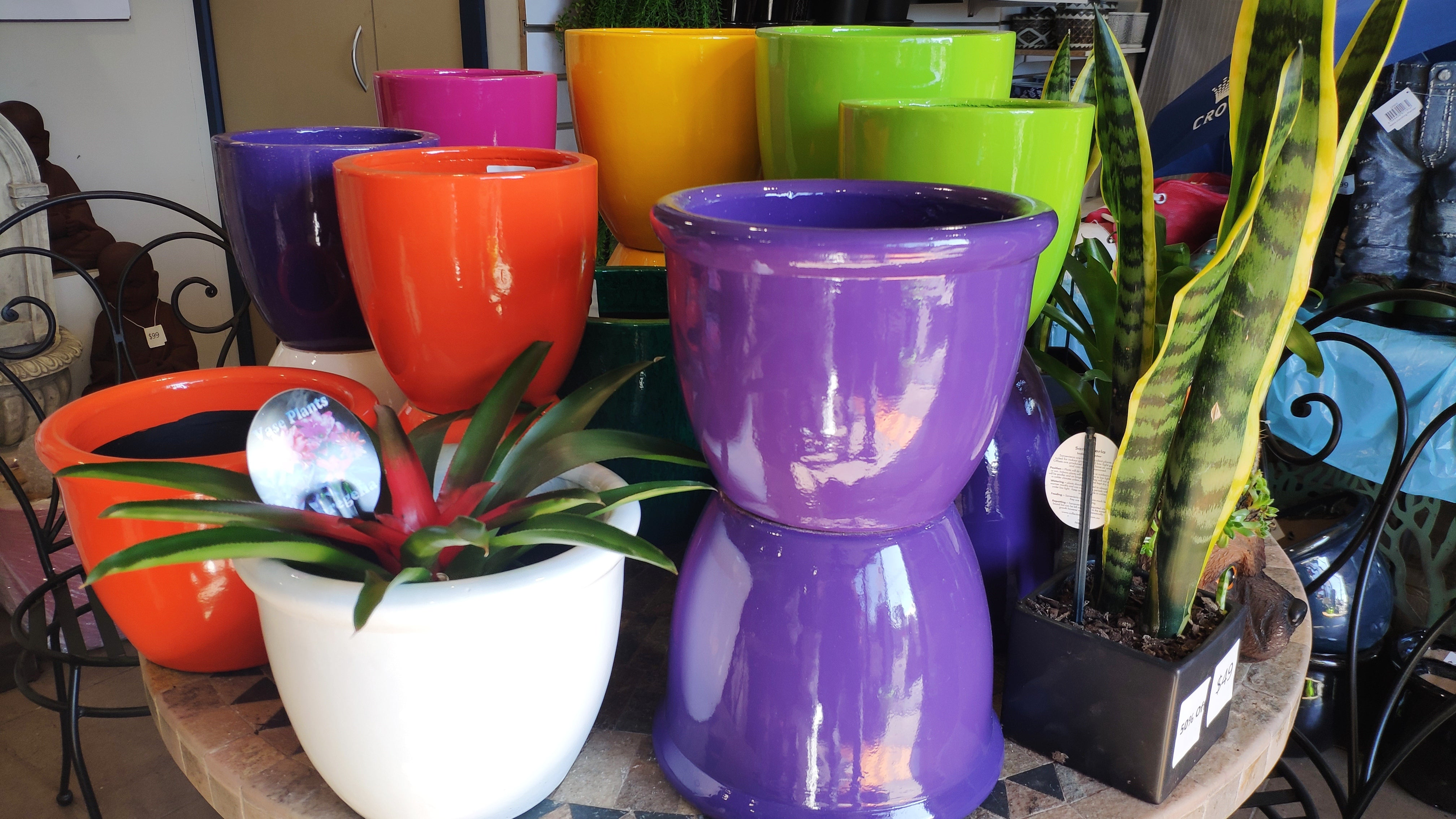 colourful pots