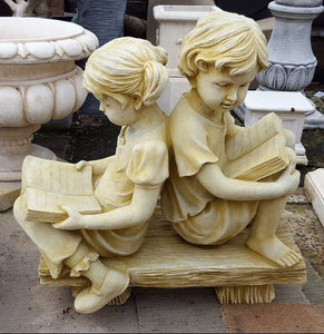 Reading Children On Bench
