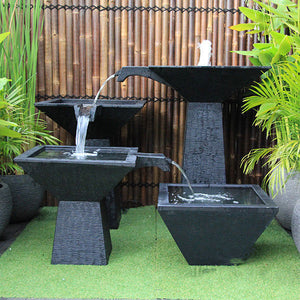 Three Tier Square Bowl Cascade Fountain – Large
