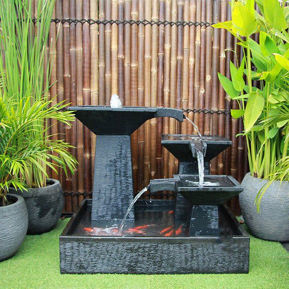 Three Tier Square Bowl Cascade Fountain – Medium