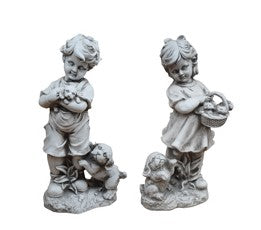 Boy & Girl with Puppy Statue