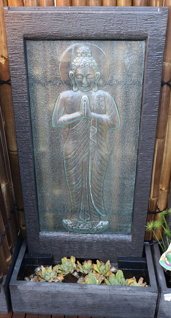 Standing Buddha Glass Wall Fountain