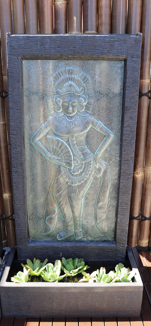 Balinese Lady Glass Wall Fountain