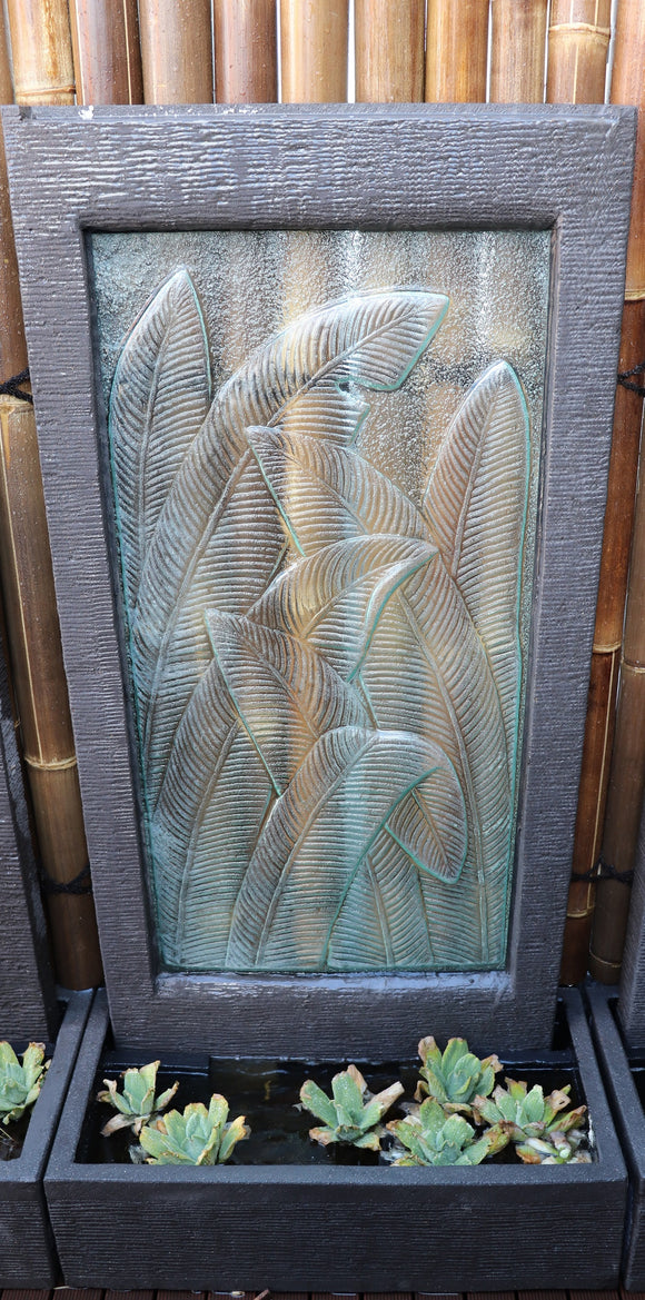 Banana Leaf Glass Wall Fountain