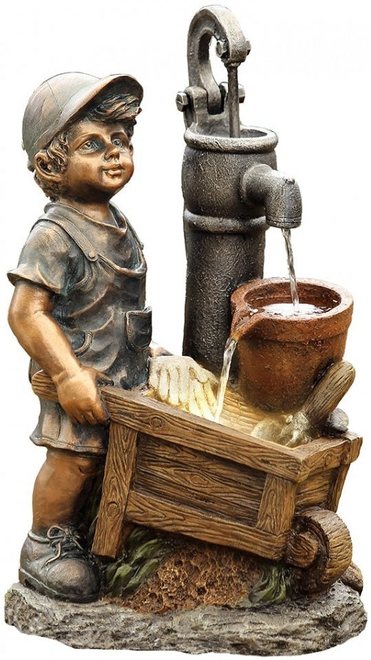 Boy Wheelbarrow Fountain