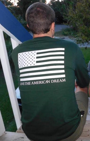 Mens United American Flag Forrest Green Long Sleeve