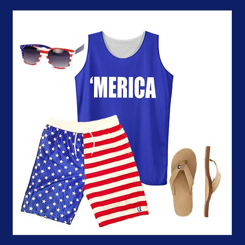 Merica Pinnie & American Flag Bathing Suit