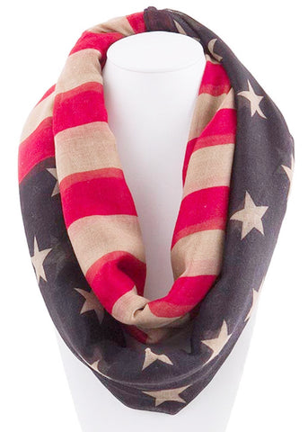 American Flag Ladies Inifinity lightweight scarf
