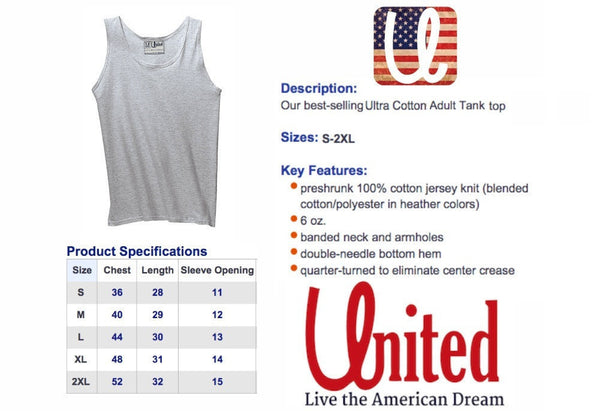 United Tank Top Size Chart