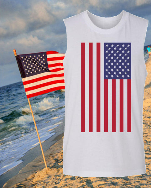 American Flag Muscle Tank TOp at the beach