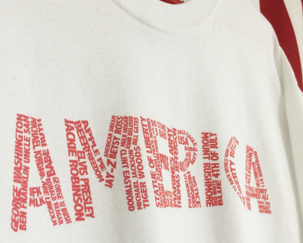 America shirt with words making up America. United tees