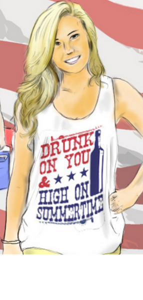 Ladies 'Drunk on You & High on Summertime' Tank Top