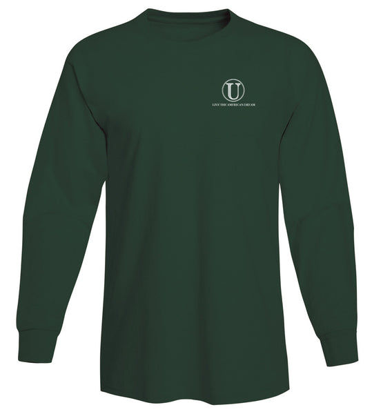 United Tees Logo Long Sleeve Forrest Green Tee
