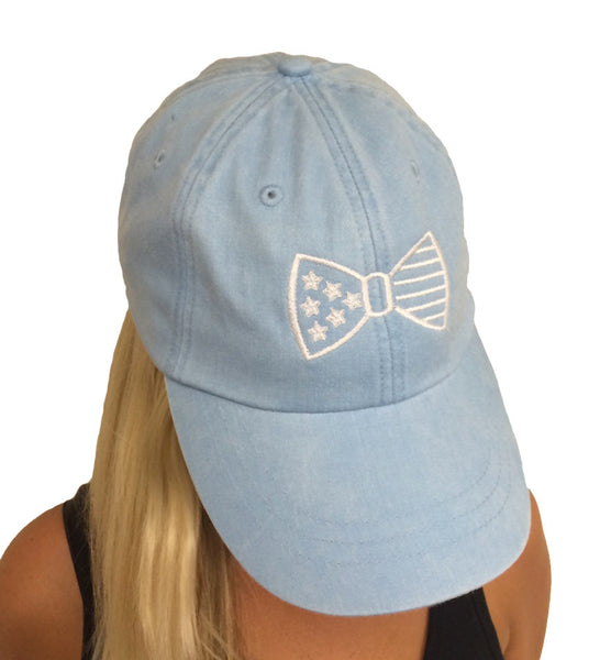 Light Blue Hat, America Bow