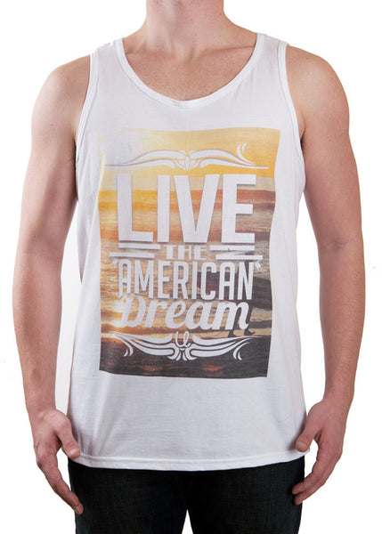 Surfboard Sunset Live the American Dream Tank Top