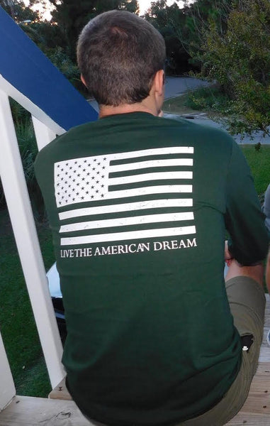 United Tees American Flag Live the American Dream Long Sleeve Tee