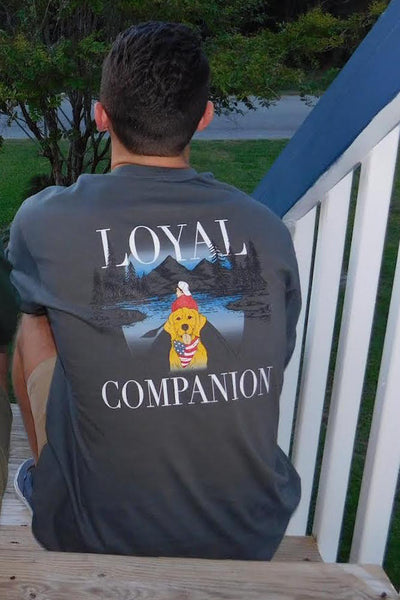 "Men's Preppy T-Shirt with Dog ""Loyal Companion"""