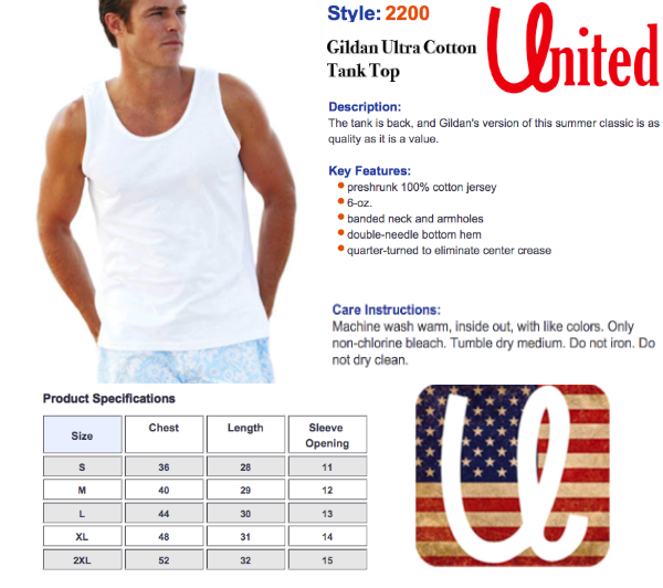 United Tank Top Size Chart, United Tees- #1 American Pride Clothing Brand