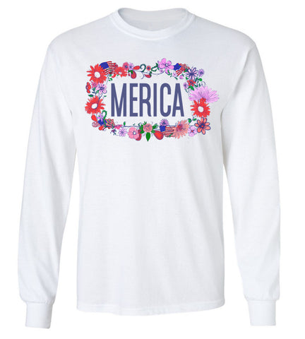 Merica Floral Crown Long Sleeve Tee
