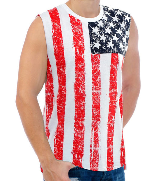 Men's American Flag Muscle Tank Top