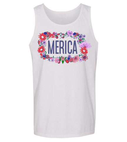 Merica Ladies Floral 4th of July Tank top