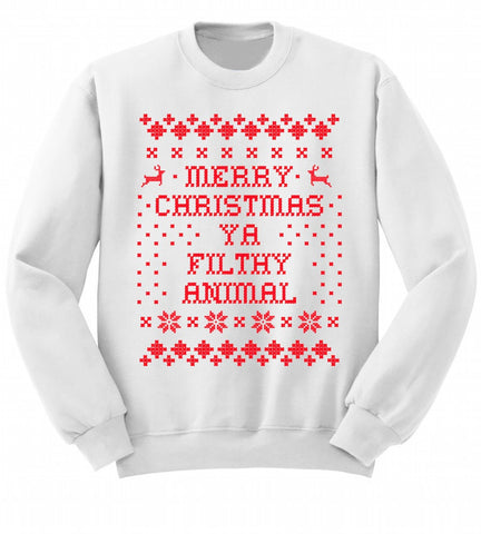 Merry Christmas Home Alone Sweatshirt- White Holiday Sweatshirt