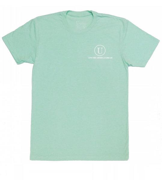 'Live the American Dream' mint front united tee