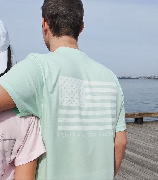 Preppy Mint Spring Tee with American Flag