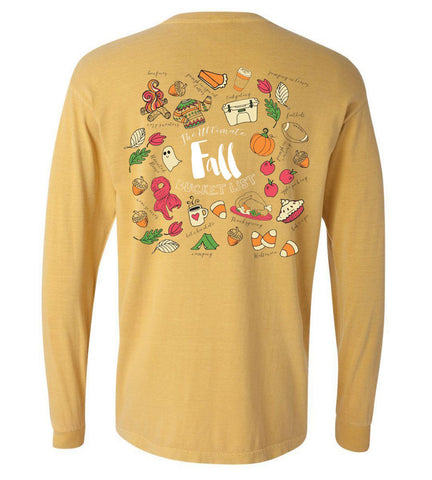 'Fall Bucket List' Comfort Colors Long Sleeve