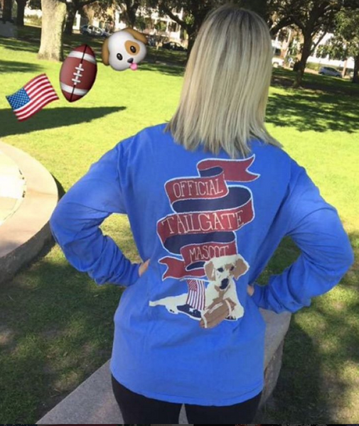 Preppy Football Long Sleeve Tee with Puppy