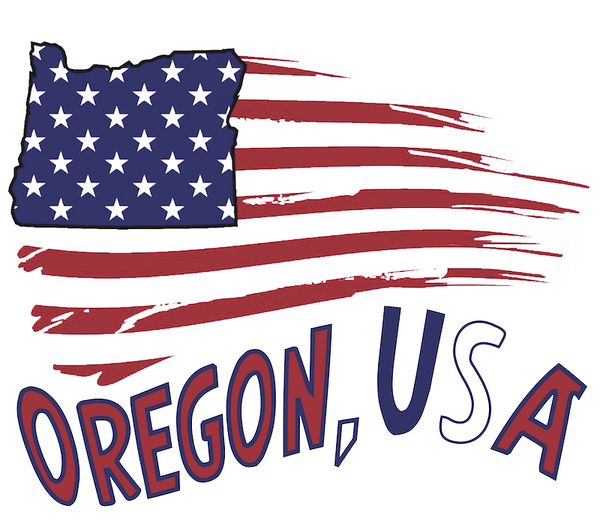 State Of Oregon Inside American Flag