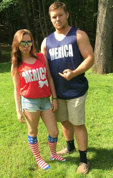 Couple Wearing Merica Pinnies- United Tees