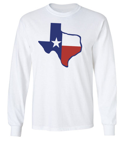 Texas Flag on a Long Sleeve T-Shirt