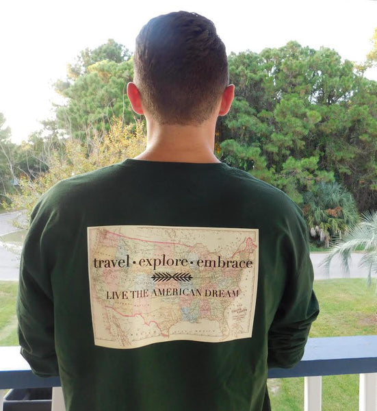 Travel, Explore, Embrace Long Sleeve from United Tees
