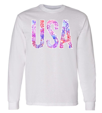 USA Floral Pattern Preppy White Long Sleeve