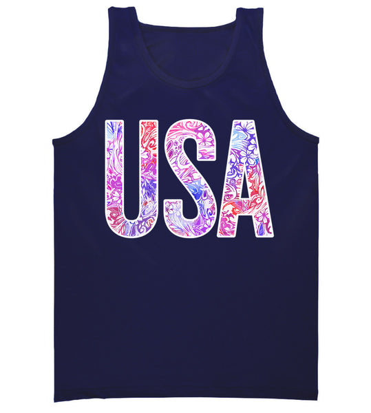 Navy Ladies Preppy 4th of july tank top
