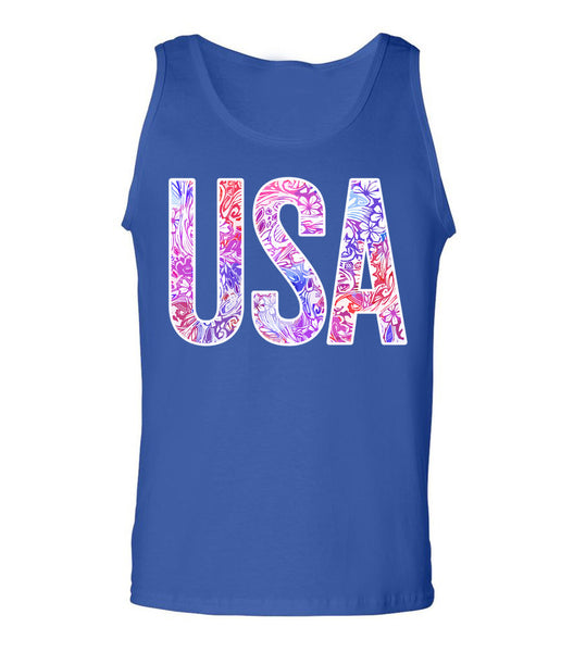 Preppy & Patriotic Blue Tank Top for Girls