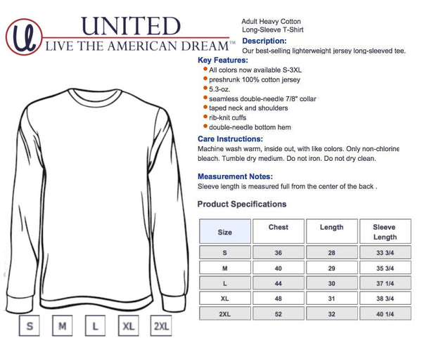 United Tees Size Chart- Long Sleeve T-Shirt