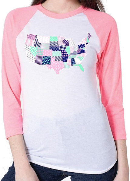 Preppy Map of the United States on A Baseball Tee!