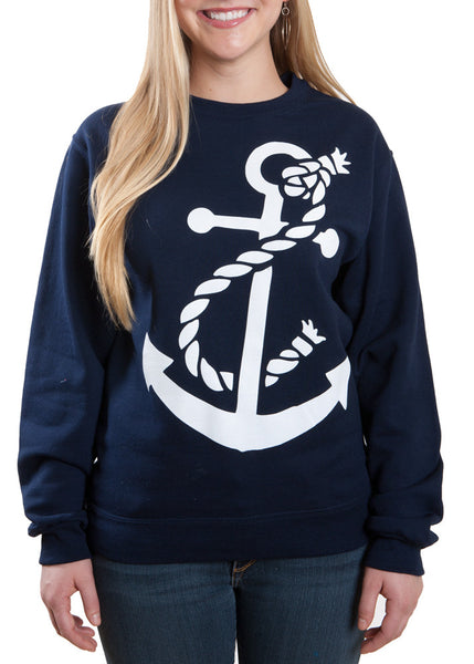 Navy Anchor Crew Neck Sweatshirt