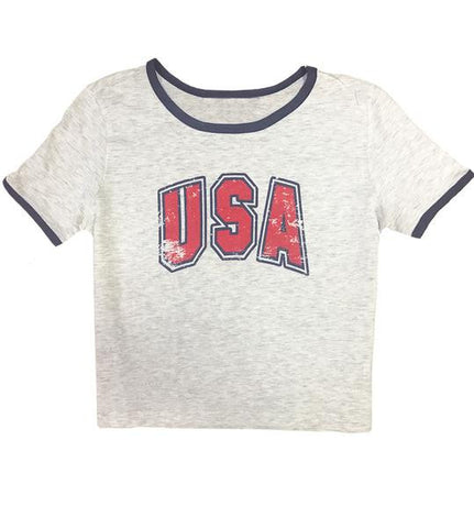 Ladies 'USA' Cropped Ringer Tee