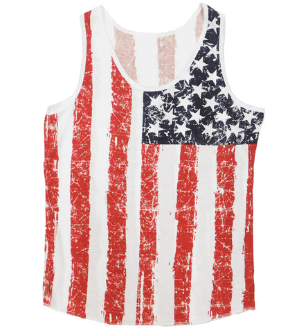 American Flag Men's Distressed Tank Top