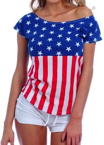Ladies American Flag Drop Shoulder Tee
