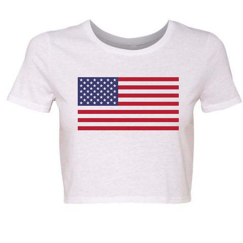 American Flag 4th of July Crop Top