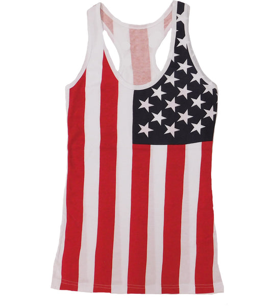 LAdies Summer American Flag Cute Tank Top