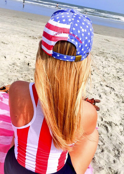 American Flag Hat Girl on the Beach