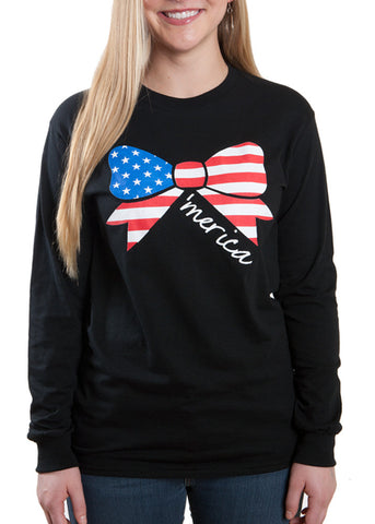 Ladies 'Merica Bow' T-Shirt, Bow with American Flag