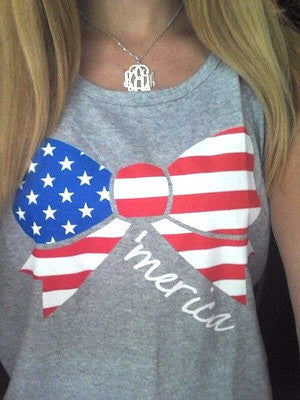 Blonde Girl Bow Patriotic Red White and Blue Tank America