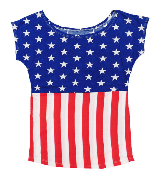 American Flag Off the Shoulder Shirt for 4th of July