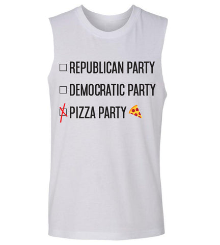 Pizza Party Tank Top- Funny election tank